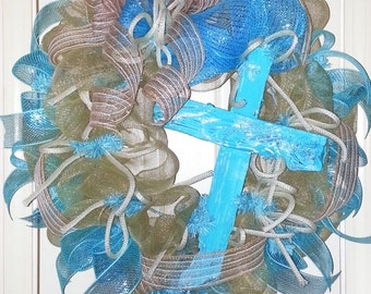 On Sale, Cross wreath, Rugged Cross Wreath, anytime wreath, wood cross decor, Spiritual wreath, cross door hanger, blue wreath