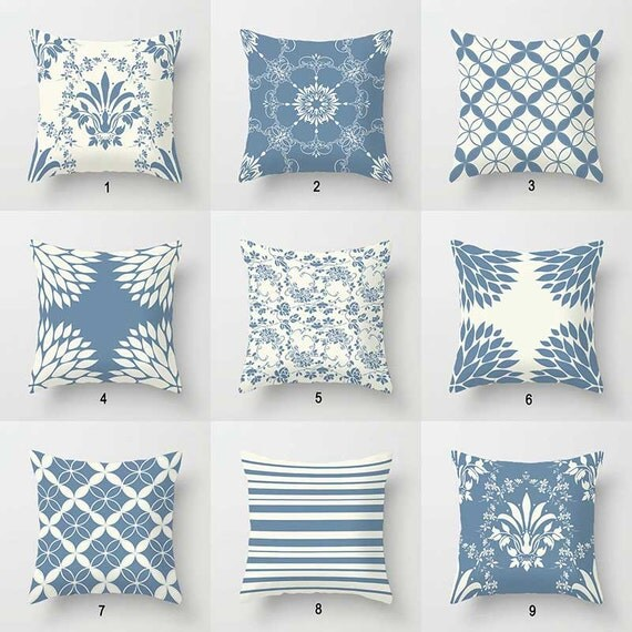 Dusty Blue Decorative Pillows : Blue Pillows Dusty Blue and White Cream Pillow Covers