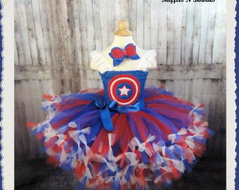 Superhero Captain America-Princess tutu inspired Costume--Hairbow or Hairband---Great for Birthdays, Photos, Pageants , Weddings