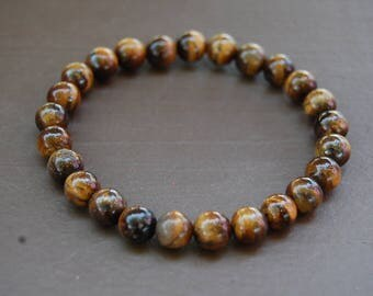 Tiger Eye Bracelet,Tiger Eye Gemstone 8mm Beads,Elastic Bracelet,Man,Woman,Mens Beaded Bracelet,Tiger Eye Gemstone Bracelet,Surfer Jewelry