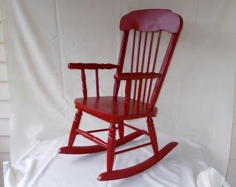 Vintage Youth Rocking Chair, Red