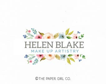 make up logo wedding logo florist logo floral logo flower logo event planner logo beauty logo watercolor logo nail art logo photography logo