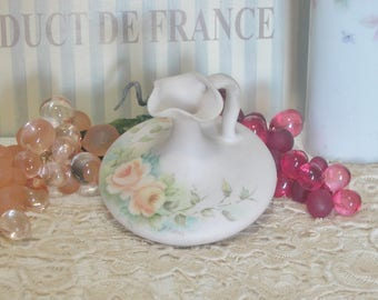 Hand Painted Glass or China Pitcher/Vinegar Cruet, Cottage, Shabby Chic, Artist Signed