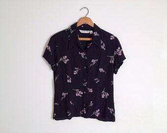 Vintage Black Pale Floral Button Up Blouse