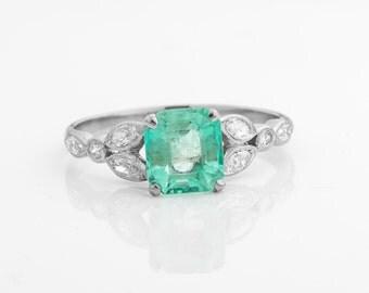Circa 1940s Retro-Vintage 1.51ct Columbian Emerald with Old European Diamond Accents, ATL #515