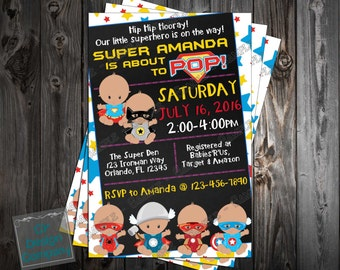 Baby Marvel Super Heroes - Baby Shower - Invitation Printable