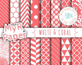 """SALE 50% Coral Digital Paper: """"White & Coral"""" Digital Paper Pack and Backgrounds with Chevron, Damask, Triangles, Stripes and Polka Dots"""