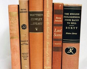 Orange Books, Interior Book Decor, Wedding Centerpiece, Used Books, Vintage Book Set, Home Decoration, Antique Books