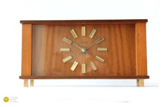 Mid century HEGES Germany Desk CLOCK Modern Danish Junghans