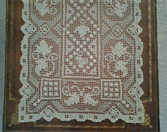 Antique Filet Needle Lace Table Runner