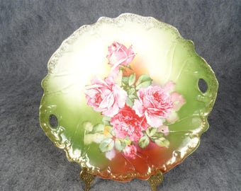 Vintage Hand Painted Two Handled Serving Plate
