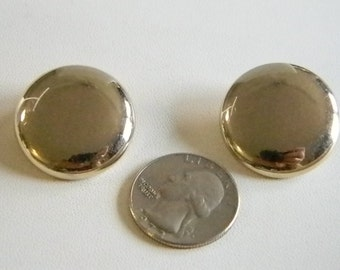 Gold Tone Button Clip Earrings