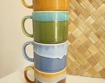 Retro Stacking Coffee Cups - Icon from the 70's! - Set of Four