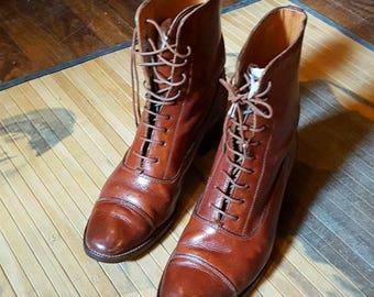 Vintage Ralph Lauren Doughboy Boots, '80s Ralph Lauren Boots, Ralph Lauren Lace-Up Ankle boots