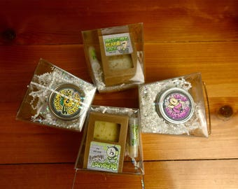 Natural Takeout Boxes -Natural Soap Bar, Lip Balm, and Shea Balm - Teen Made in Chicago