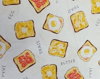 Breakfast Jam and Toast on White - Sevenberry fabric Fat Quarters 100% cotton quilting dressmaking UK Shop