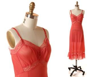 1950s Coral Fancy Slip / Vintage Crystal Pleat Salmon Pink Nylon Full Slip / Vintage 50s Lingerie / Van Raalte 34