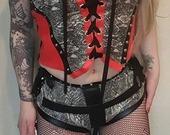 Red faux leather and snakeskin vest top. UK size 8-10-12