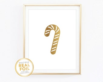 Candy Cane, Real Foil Print, Gold foil, Silver foil, 8x10, Home Decor, Wall Art, Quote Print, Christmas, Winter