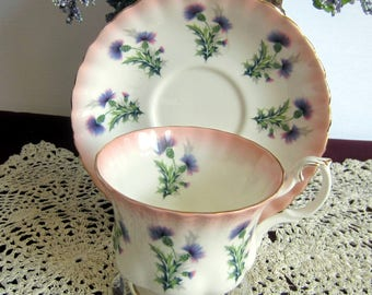 Royal Albert 4466 with Lavender Thistles and Pink Border Bone China Tea Cup and Saucer