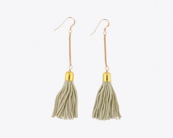 Tassel & Chain Earrings - Mint and Gold - Green and Gold - Seafoam and Gold