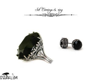 Black Princess Set Earrings and Ring gothic women