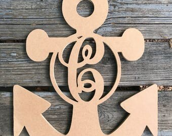 Raw Wooden Monogrammed Anchor Sign, Wooden Monogram Sign, Wood Sign, Engraved Wood Sign, Anchor Sign, Nautical Monogrammed Sign
