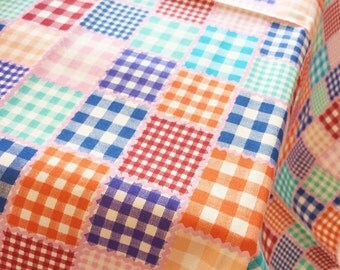 plaid cotton fabric, colorful checked, pink background, cute, sweet 100% Cotton Fabric by yard, fat quarter, half yard, yard