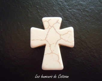 2 cross beads assorted colors 36x30x6mm howlite / 2 Pearls various colors 36x30x6mm howlite CROSS