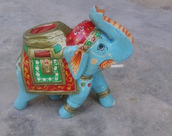 Free Shipping Wooden Hand Painted Elephant Statue Figurine 6'' Indian Art Good Luck Symbol Elephant Statue Figurine Home Decor Gift