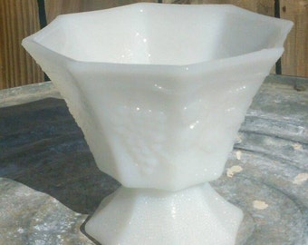 Anchor Hocking Milk Glass Grape and Vines Footed Bowl