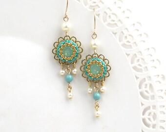 Flower dangle earring, Romantic gifts, Gold earrings dangle, Chandelier earrings, Vintage style earrings, Romantic earrings, Floral earrings