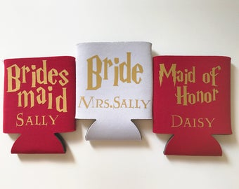 Custom Bridesmaid Maid of Honor Cooler Set - Bachelorette Favors - Bridesmaid Proposal - Bridal Can Coolers - Bridal Party Gift with Names