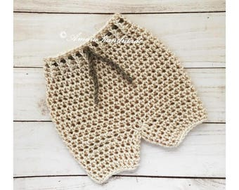 Beige Baby shorts - crochet baby shorts, Made to order for Newborn to 12 Months, Great photo prop for newborn or baby