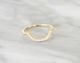R1033 - New Gold Plated Sterling Silver Curve U Size 5 Ring
