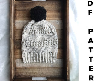 Crochet beanie PATTERN, The Rory Beanie Pattern, crochet women's slouchy hat with pompom, handmade womens slouch hat, crochet beanie pattern