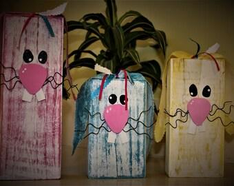 Wooden Easter Bunnies, set of 3