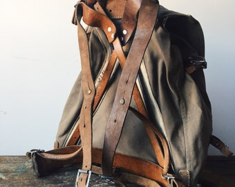 Vintage WWII Canvas/Leather Military Rucksack