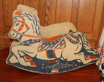 1930's Shoo Fly Bench Seat Rocking Horse, Primitive Antique