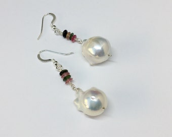 Baroque Pearl with Watermelon Tourmaline Earring