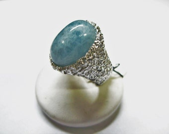 band ring crafted in Sterling Silver 925 Aqua cabochoni milk