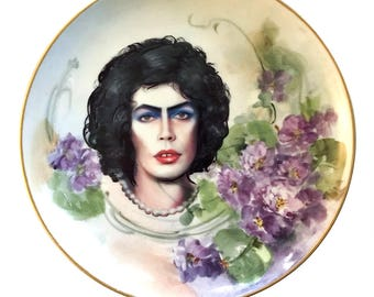 Vintage - Illustrated - Tim Curry - Rocky Horror Picture Show - Dr. Frank N. Furter - Wall Display - Altered Plate - Antique - Upcycled