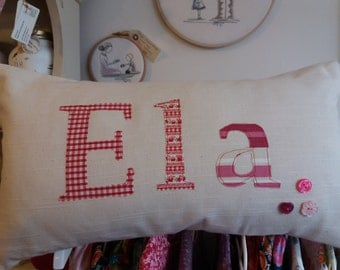 Personalised Cushion, Personalised Pillow, Pink, Red, Handmade Cushion