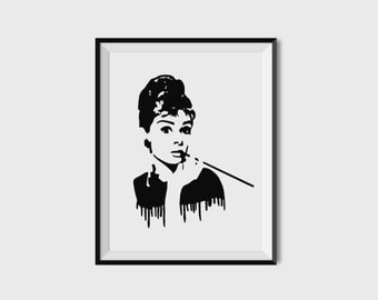INSTANT DOWNLOAD Printable Quote Audrey Hepburn Breakfast at Tiffany's Digital Poster Print Movie Legend Icon Audrey Black and White Drawing