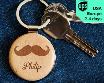 Mustache - key chain, personalized laser engraved wooden key chain