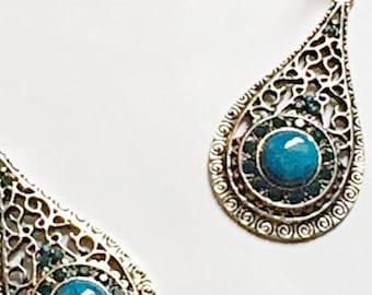 Blue Crystal Tibetan Silver Dangling Earrings ON SALE