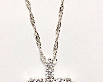 Rhinestone CZ Pave Cross Pendant Necklace