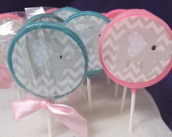 Baby Elephant Baby Shower Teal Chevron Lollipops