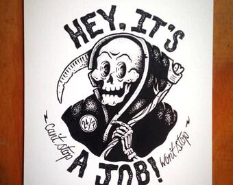 Grim Reaper, 5x7 Original Art, Pen and Ink, Fun Illustration, Hand Drawn