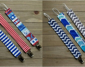 Stripes Chevron Nautical Pacifier Clip, Pacifier Holder, Gender Neutral Pacifier Clip, Binky Clip, Red, White, and Blue, Baby Gift